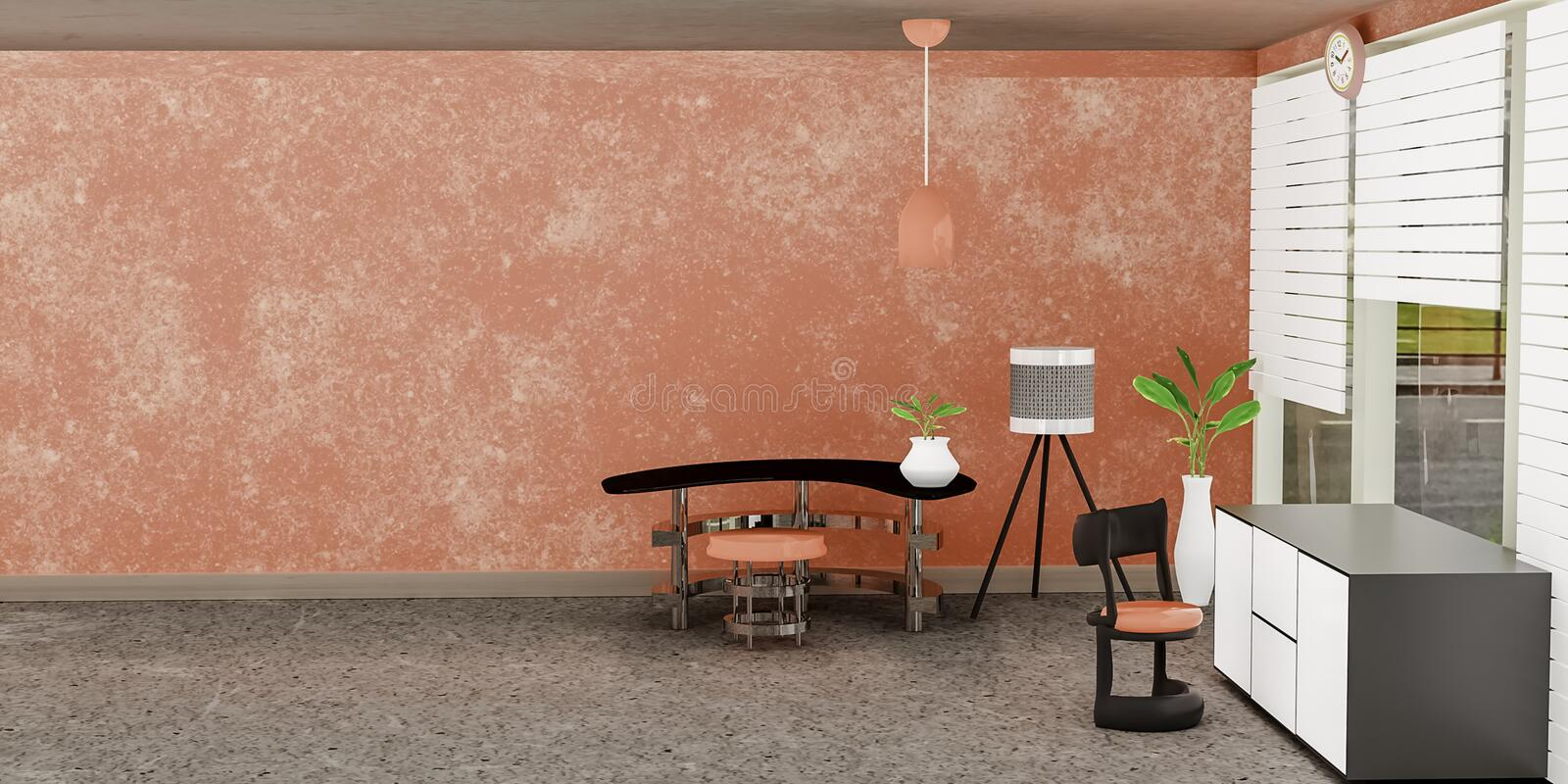 Modern interior of living room with white cabinet front of orange wall and a Lamp stock illustration