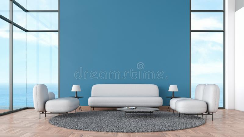 Modern interior living room wood floor with gray sofa and chair window sea view summer template for mock up 3d rendering. minimal vector illustration