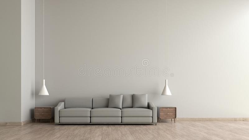 Modern interior living room wood floor white cement texture wall with gray sofa template for mock up 3d rendering. minimal living. Room design stock illustration