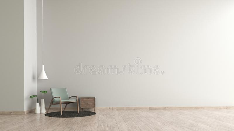 Modern interior living room wood floor white cement texture wall with green chair template for mock up 3d rendering. minimal livin. G room design royalty free illustration
