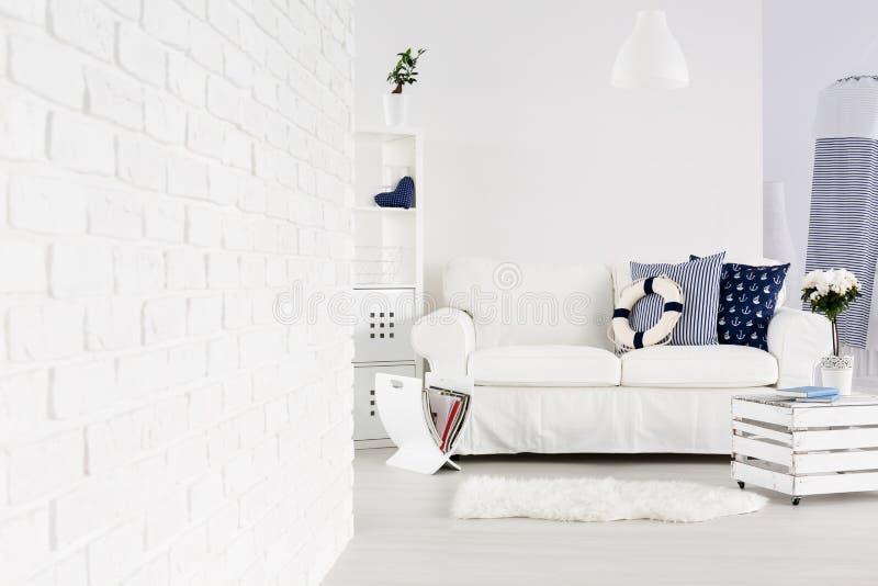 Modern interior in marine style stock photo