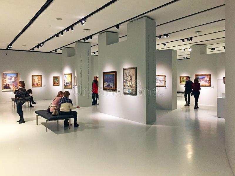 Modern interior of the Museum of Russian impressionism in Moscow Russia stock image