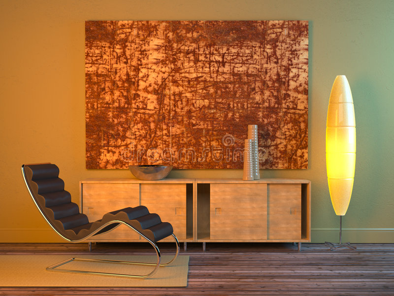 Modern interior (night) royalty free stock photos