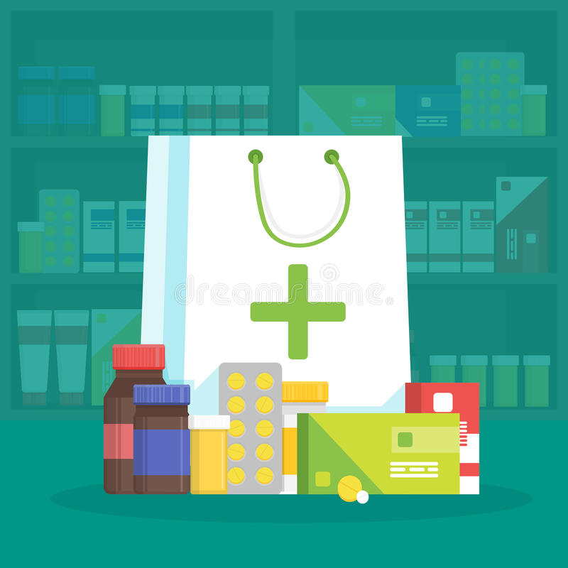 Modern interior pharmacy and drugstore. Sale of vitamins and medications. Shopping bag with different medical pills and bottles. V. Ector simple illustration stock illustration