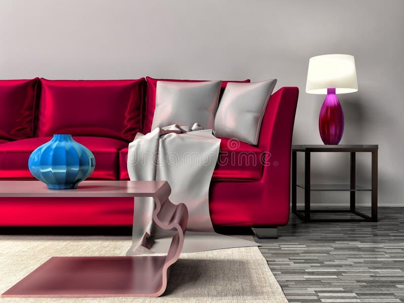 Modern interior with pink sofa. 3d illustration.  royalty free illustration