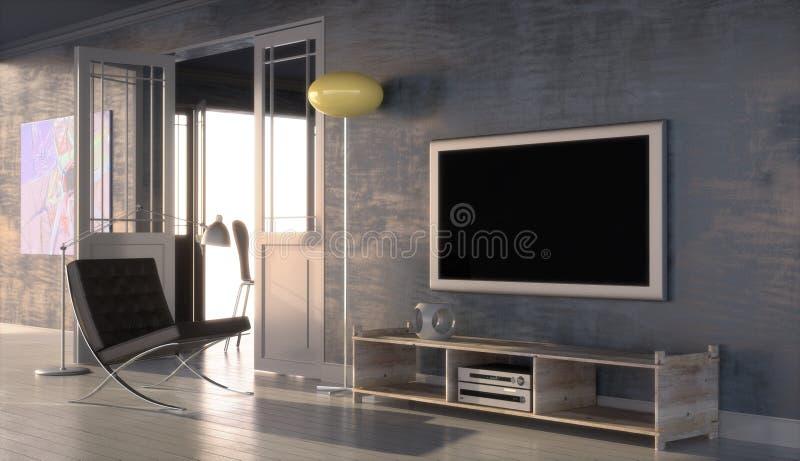 Modern interior with plasma TV stock illustration