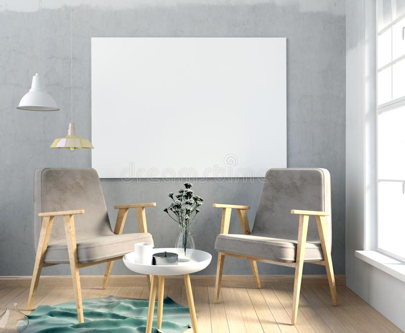 Modern interior with poster and chair poster mock up d illust