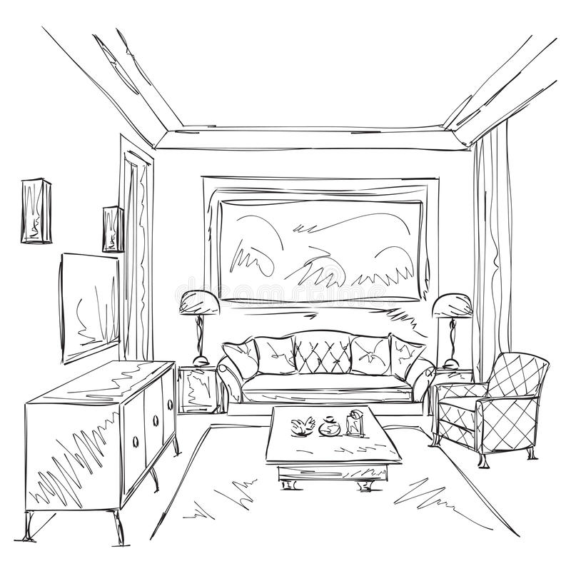 Modern interior room sketch. Chair and furniture. royalty free stock images