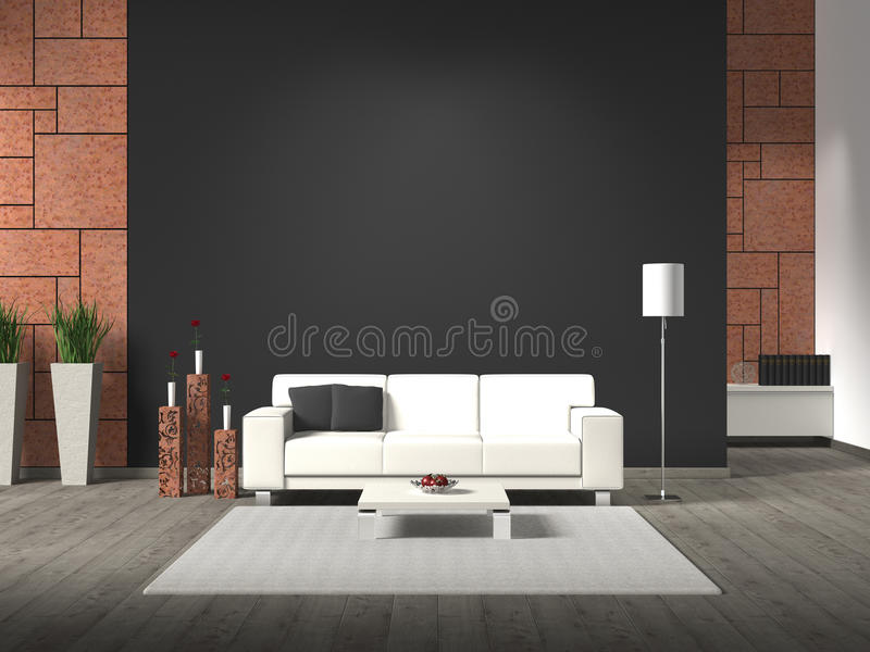 Modern interior with rusty steel wall cladding. Modern interior with sofa, corten steel and copy space vector illustration
