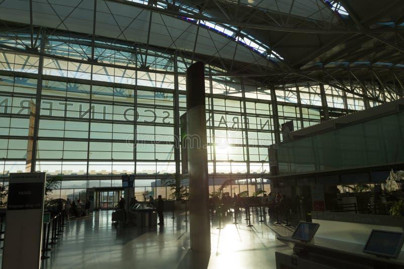 Interior of San Francisco Airport departure terminal, California stock image