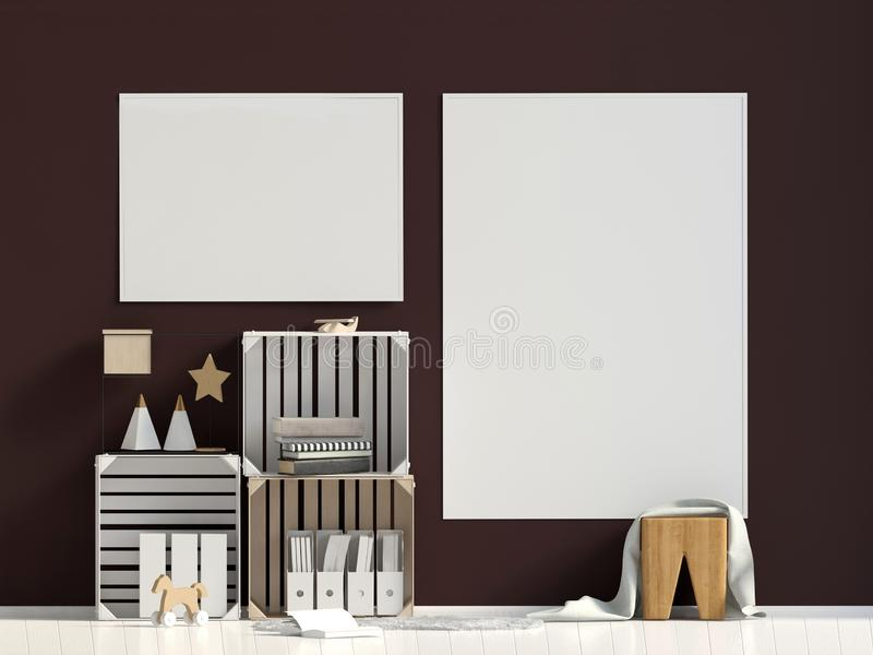 Modern interior, Scandinavian style. Poster mock up. royalty free illustration