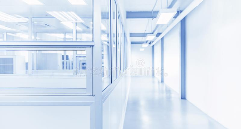 Modern interior of science laboratory or industry factory. Background with gateway and bright fluorescent light stock photography