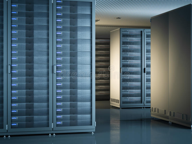 Modern interior of server room. 3d rendering royalty free stock image