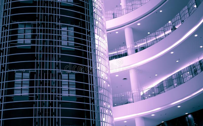 Interior of ultra modern and high tech shopping mall and offic royalty free stock images