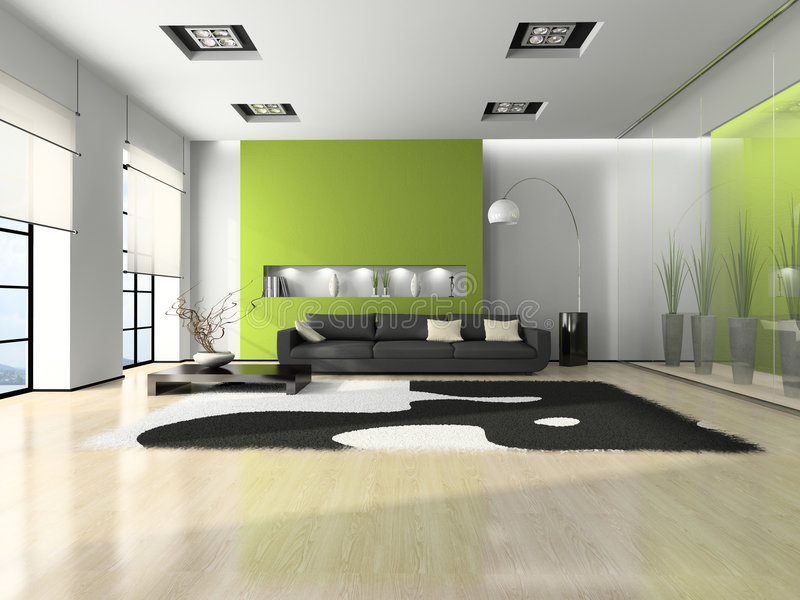 Modern interior with sofa. And white carpet 3D vector illustration