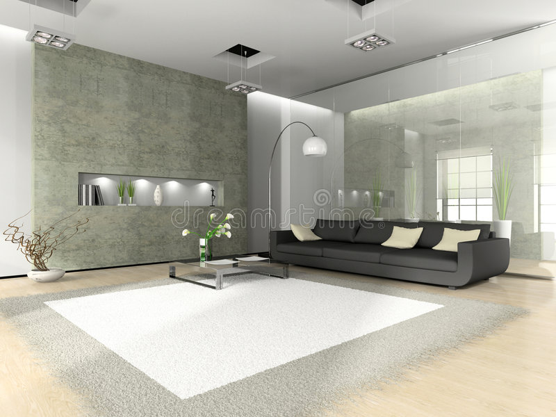 Modern interior with sofa. And white carpet royalty free illustration