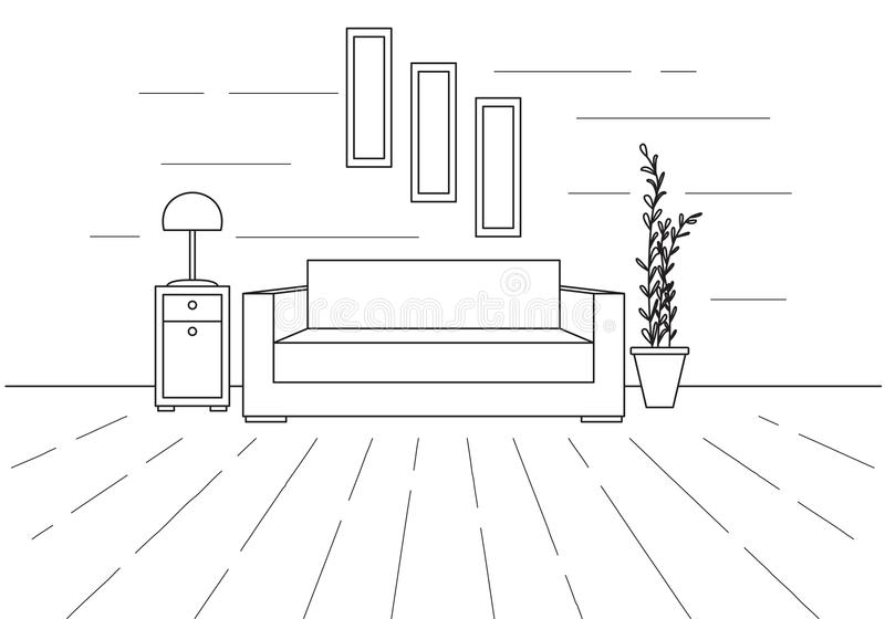 Sofa, Floor Lamp And Bedside Table. The Clock Hangs On