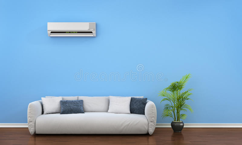 Modern interior with sofa, plant and air conditioner. 3d illustration vector illustration