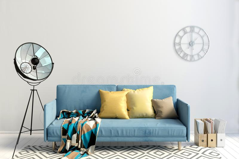 Modern interior with sofa. Wall mock up. vector illustration