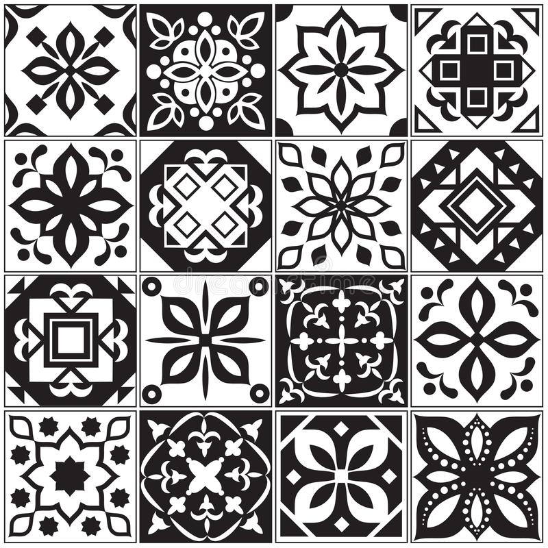 Modern interior spanish and turkish tiles. Kitchen floral vector patterns royalty free illustration