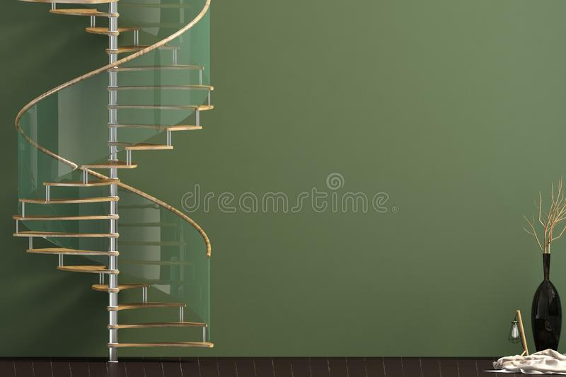 Modern interior with spiral staircase. 3d illustration stock illustration