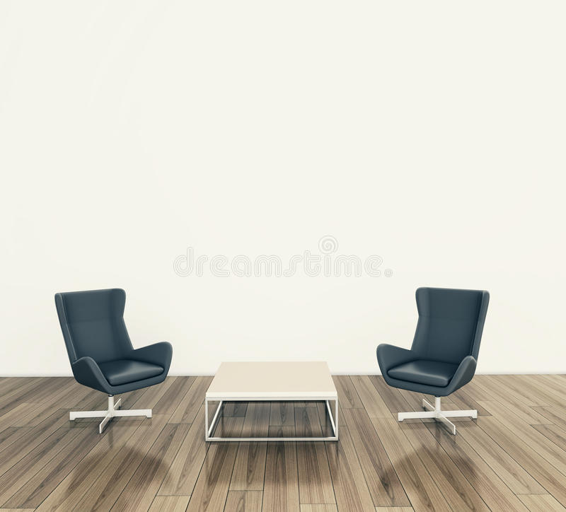 Modern interior table and chairs. Modern comfortable interior, 3d image