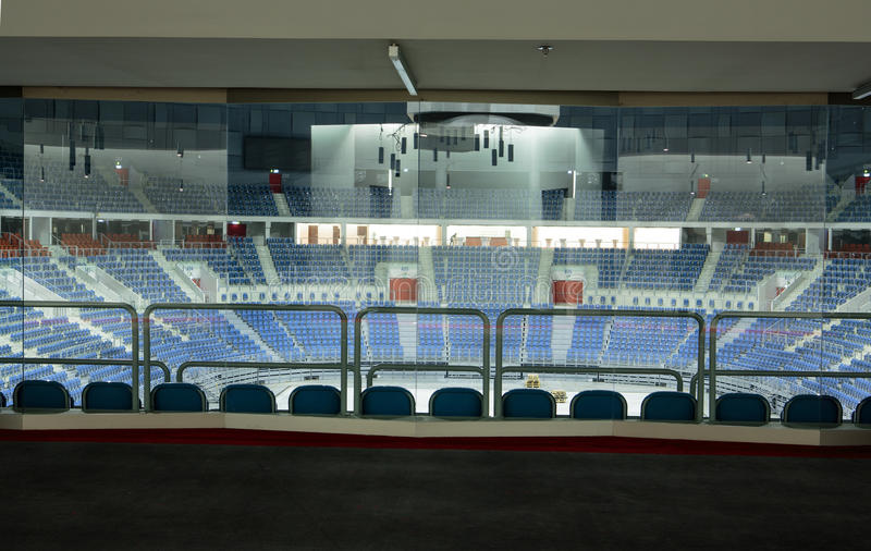Modern interior. Tauron Arena Krakow. CRACOW, POLAND - MARCH 17, 2015: Modern interior. Tauron Arena Krakow is the biggest in Poland and one of the most modern stock images