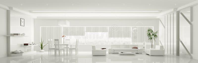 Modern interior of white apartment panorama 3d royalty free illustration