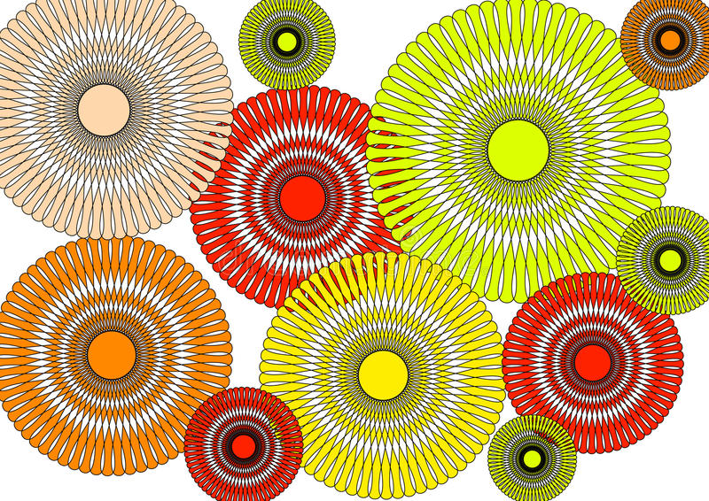 Modern intricate   circular floral abstract design on white background stock photo