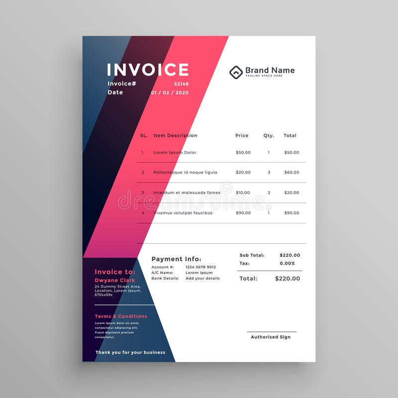 Modern invoice template for your business royalty free illustration