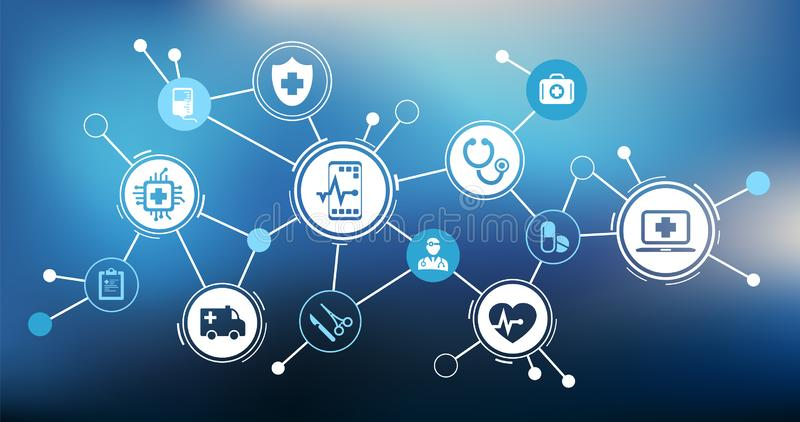 Modern iot medical technology / e-health / telemedicine – vector illustration. Abstract concept with interconnected electronic health / telemedicine icons royalty free illustration