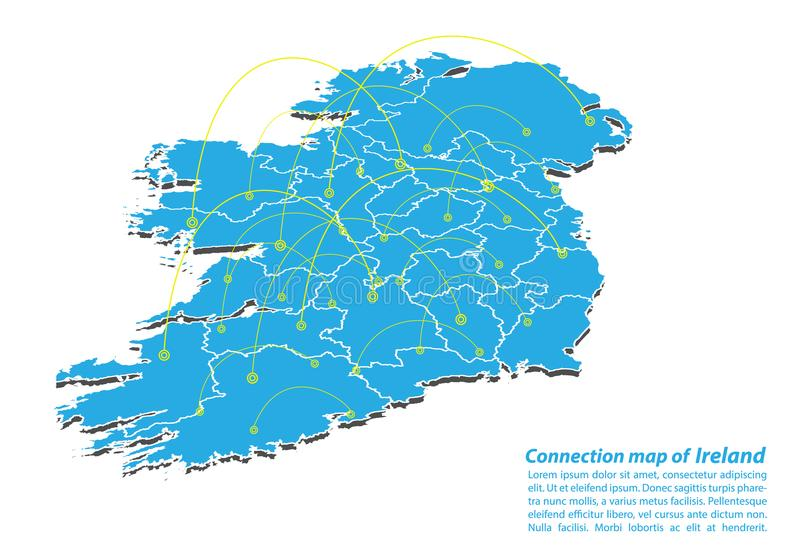 Modern of ireland Map connections network design, Best Internet Concept of ireland map business from concepts series. Map point and line composition royalty free illustration