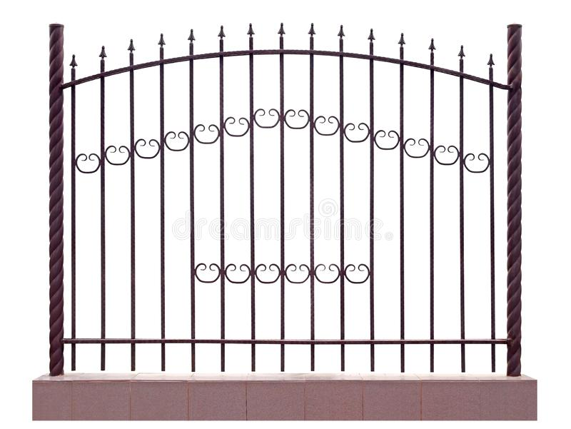 Modern iron fence with pillar. Isolated over white background stock photos