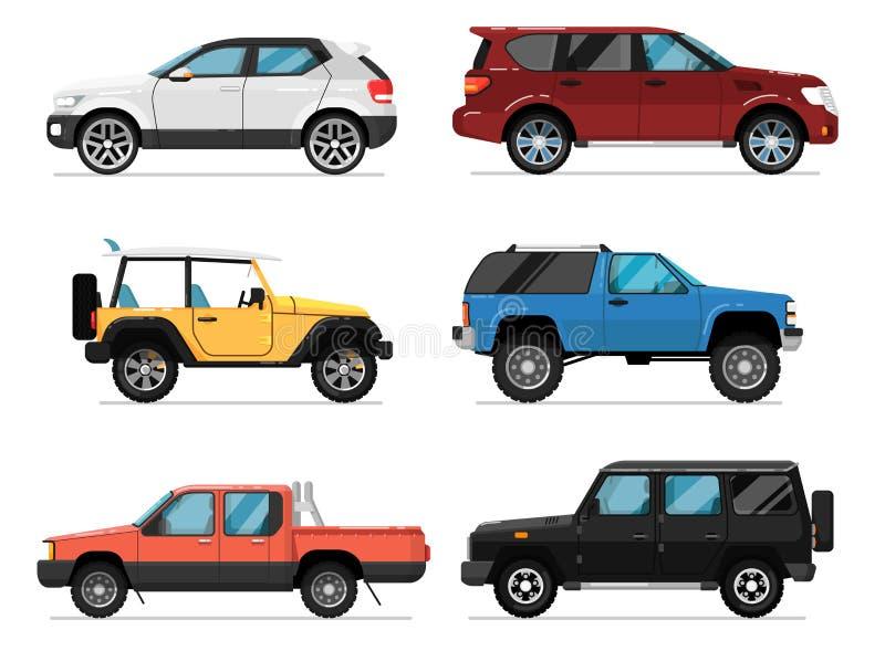 Modern isolerad vektoruppsättning för stad bil royaltyfri illustrationer