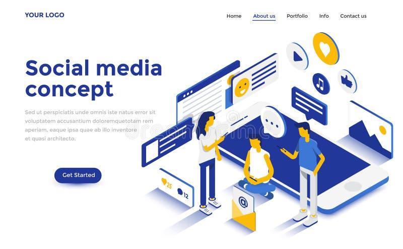Modern isometrisk begreppsillustration för plan färg - socialt massmedia stock illustrationer