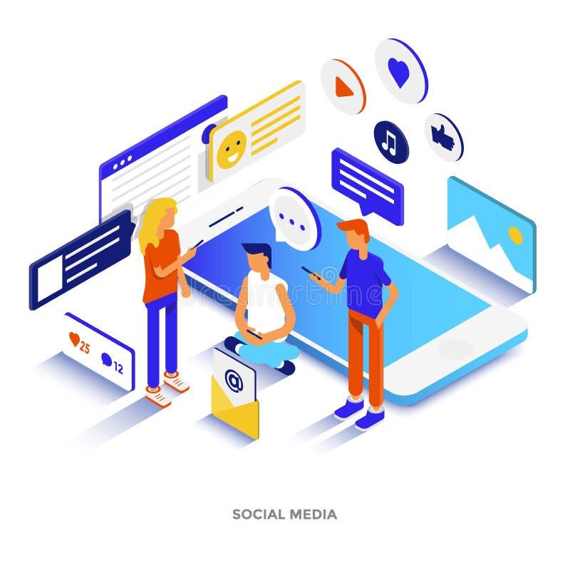 Modern isometrisk illustration för plan färg - socialt massmedia royaltyfri illustrationer