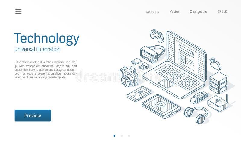 Modern isometrisk illustration för trådlös teknologi Wearable apparater, bärbar dator, smart klocka, ökade verklighetvrexponering royaltyfri illustrationer