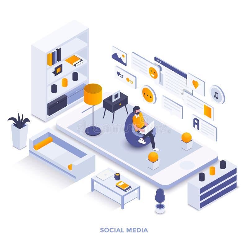Modern isometrisk illustrationdesign för plan färg - socialt massmedia vektor illustrationer