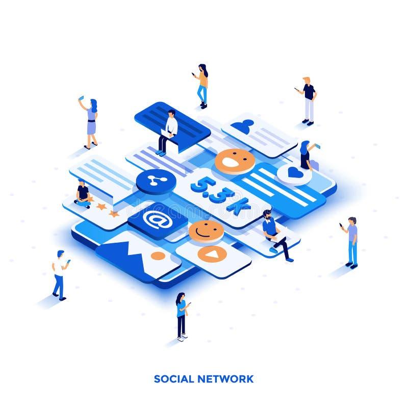 Modern isometrisk illustrationdesign för plan färg - socialt nätverk vektor illustrationer