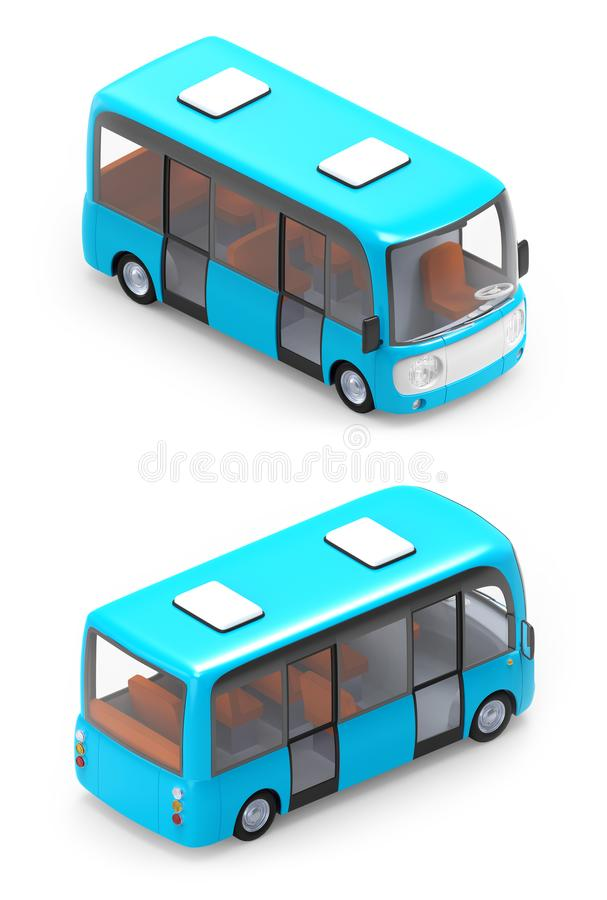 Modern isometrisk tecknad filmbuss stock illustrationer