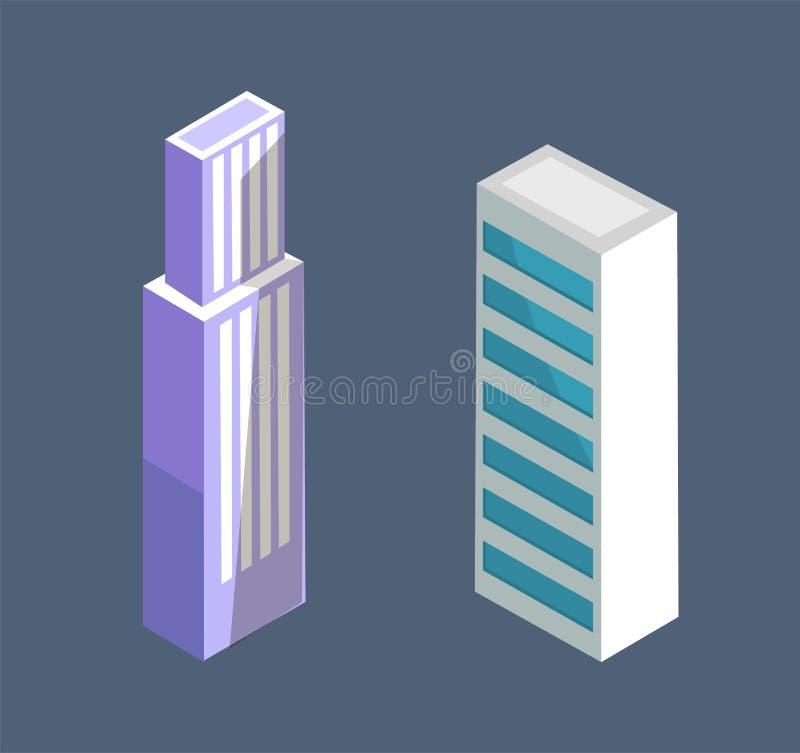 Modern isometrisk vektor för byggnadsskyskrapadesign royaltyfri illustrationer