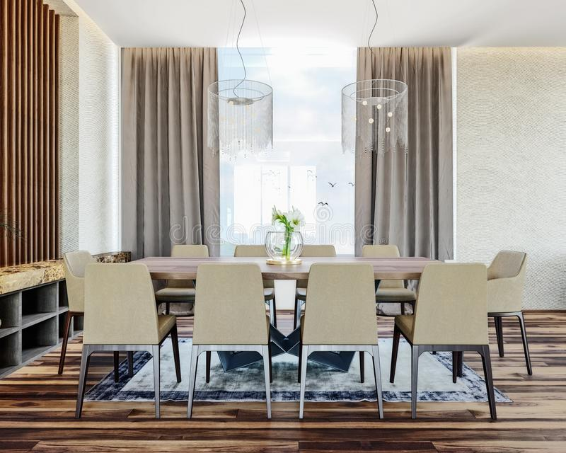 Modern italian interior design of contemporary dining room with beautiful view on countryside, mountain in background royalty free stock images