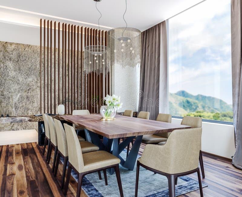 Modern italiensk inredesign av modern matsal med härlig sikt på bygd, berg i bakgrund royaltyfria bilder