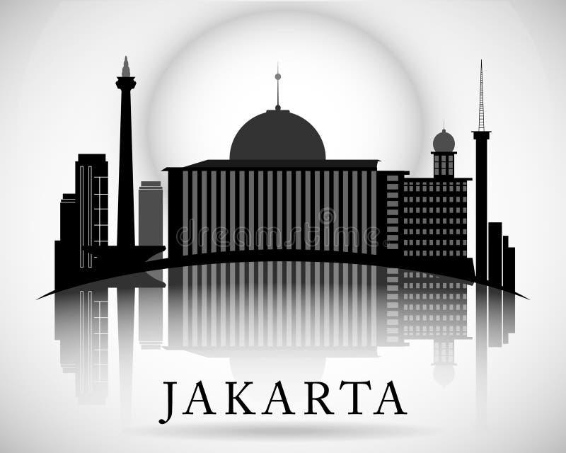 Modern Jakarta City Skyline Design. Indonesia. Modern Jakarta City Skyline Design stock illustration