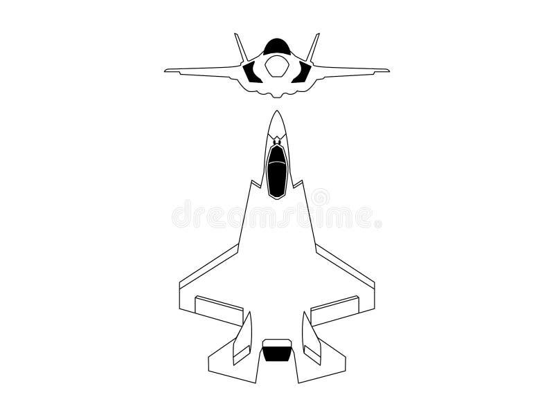 Modern jaktflygplanvektorillustration vektor illustrationer