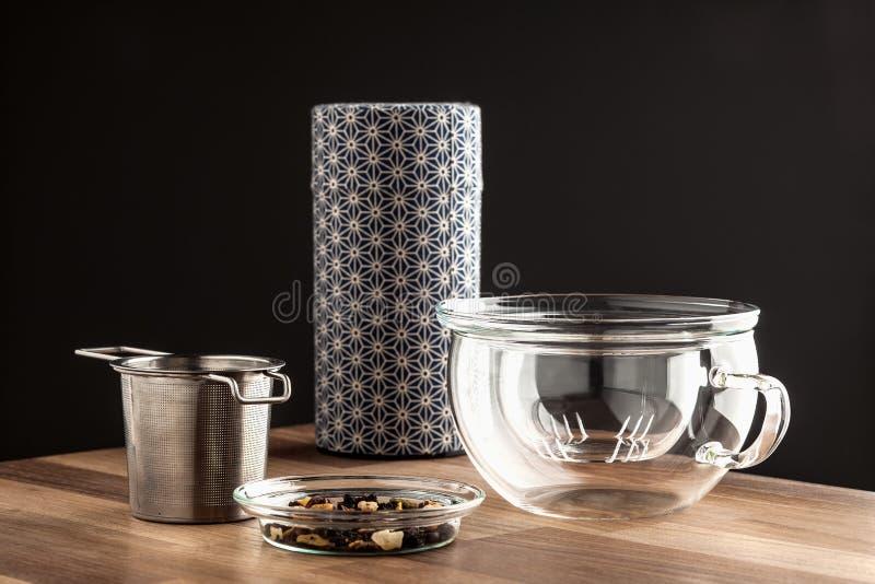 Modern japanese tea making set stock photo