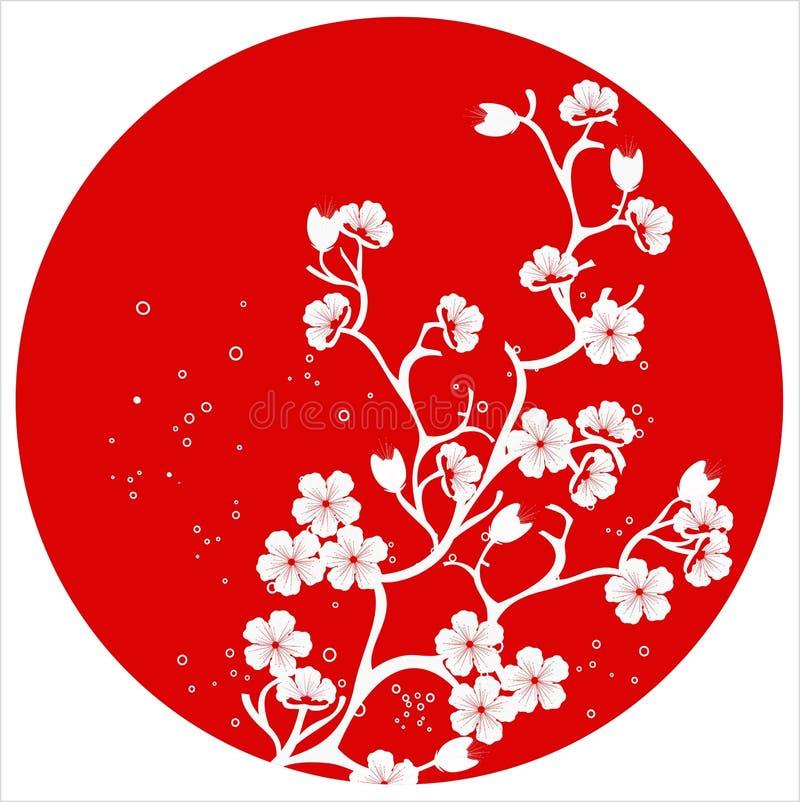 Modern japansk mallvektor för körsbärsröd blomning vektor illustrationer