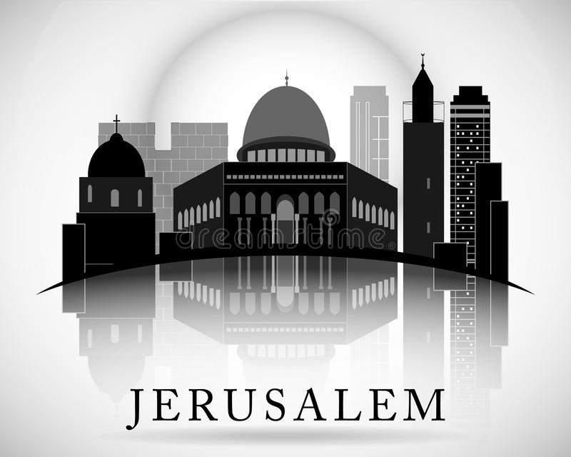 Modern Jerusalem City Skyline Design. Israel. Modern Jerusalem City Skyline Design stock illustration
