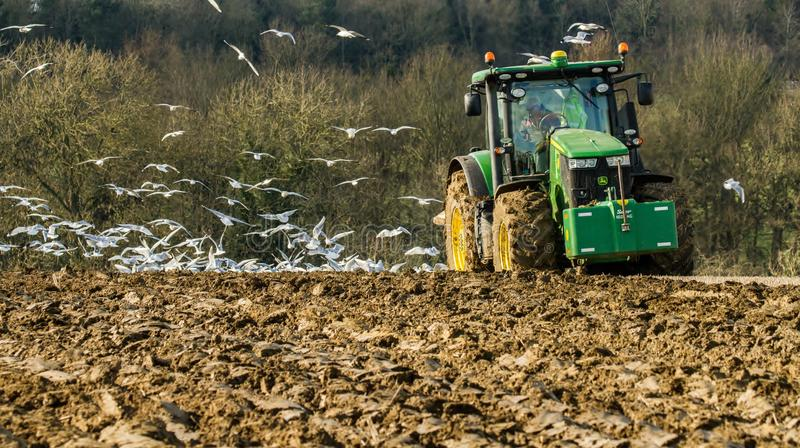 Modern John Deere tractor pulling a plough followed by gulls. Green modern John Deere tractor ploughing a field with plough working field followed by gulls royalty free stock images