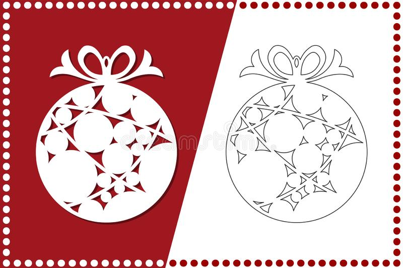 Modern julboll Nytt års leksak för laser-klipp också vektor för coreldrawillustration stock illustrationer